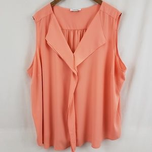 Calvin Klein Peach Orange Ruffle Front Blouse 3XL